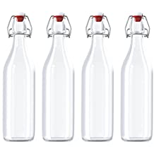 Swing Top Bottles Set of 4 Glass Kombucha Fruit Beverage Beer Liquor 32 Ounces Each Clear Flask Airtight Seal Stopper with Bonus Funnel Included