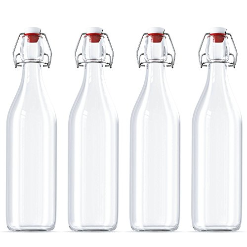Bottle Organic Top (Swing Top Bottles Set of 4 Glass Kombucha Fruit Beverage Beer Liquor 32 Ounces Each Clear Flask Airtight Seal Stopper with Bonus Funnel Included)