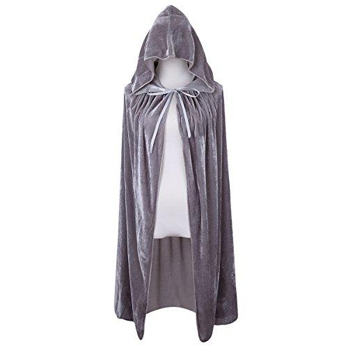 Historical Themed Costumes (Bigxian Kids Hooded Velvet Cloak Halloween Christmas Fancy Cape for Kids (Gray))