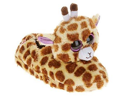 Beanie Boo Girls Slippers Faux Fur Giraffe Safari Size Sm...