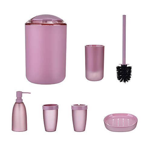 6 Piece Bathroom Accessories Set,Luxury Plastic Bath and Shower Ensemble Bath Set Gift Collection with Lotion Dispenser,Toothbrush Holder,Tumbler Cup,Soap Dish, Trash Can,Toilet Brush Set by TiTa-Dong (Collection Brush Tumbler Holder)