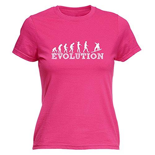 123t Slogans Women's EVOLUTION SNOWBOARD (XXL - HOT PINK) FITTED (Evolution Womens Pink T-shirt)
