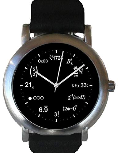ows Physics Equations At Each Hour Indicator of the Brushed Chrome Watch with Black Leather Strap ()