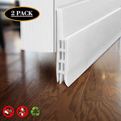 Door Draft Stopper Door Sweep for Exterior/Interior Doors, Door Seal Strip Under Door Draft Blocker Seal, Soundproof Door Bottom Weather Stripping Weatherproof, 2 W x 39 L, White 2 Pack