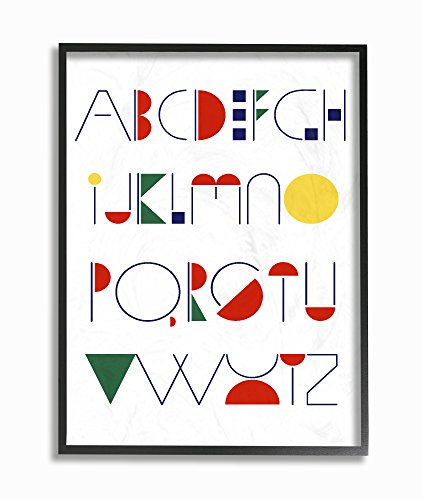 Stupell Home Décor Graphic Alphabet Primary Colors Framed Giclee Texturized Art, 11 x 1.5 x 14, Proudly Made in USA ()