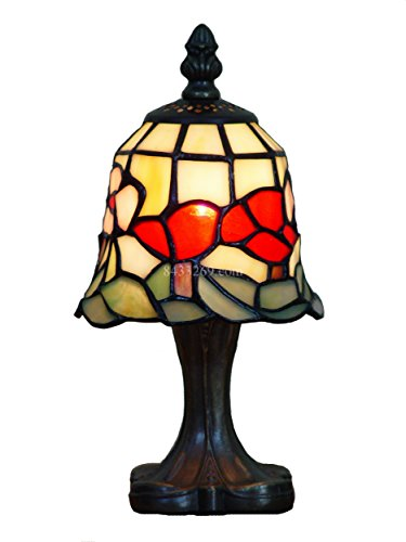 ight Bedside Lamp Stained Glass Tiffany Shade (01) (1 Light Mini Table Lamp)