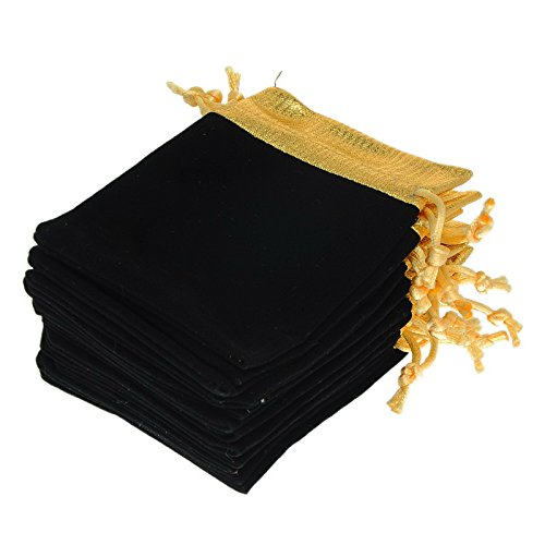 - Valyria Pack of 25 Gold Trim Velvet Cloth Jewelry Pouches/Drawstring Bag Gift Bags 10cm x12cm (Black)