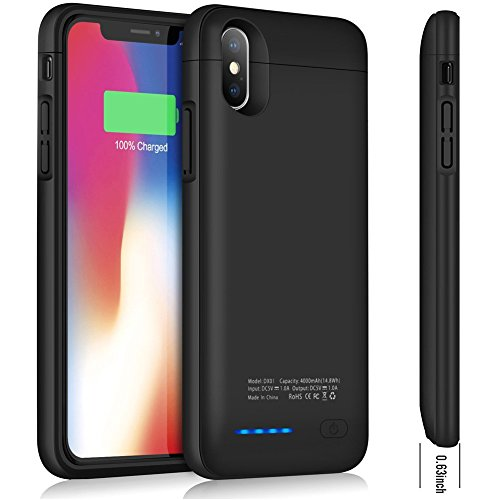 Battery Case for iPhone X, Cofuture 4000mAn Magnetic Rechargeable Extended Battery Charging External Charger Case ,Sync Through, with Car Mount and Phone Stander Feature (iPhone X Black Magnet)