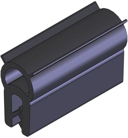50 Ft. Lg., Top Profile - NBR, .039 to .139 Opening, Emka Door Seal Gaskets, Material U.L. Approved (1 Each)
