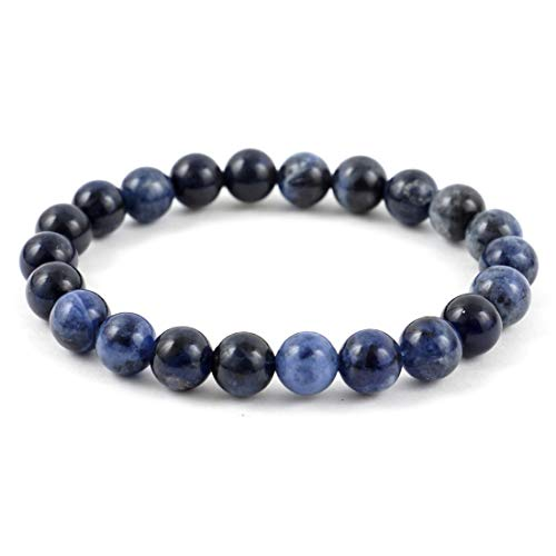 Blue Sodalite Gemstone Bracelet 7.5 inch Stretchy Chakra Gems Stones Healing Crystal Great Gifts (Unisex) GB8B-47