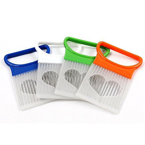 OKFCUS tomato onion vegetables slicer cutting aid holder guide slicing cutter safe fork White