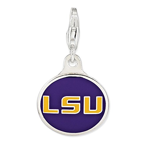 - Louisiana State University Pendant Lsu Charm Enamel Lobster Clasp Sterling Silver