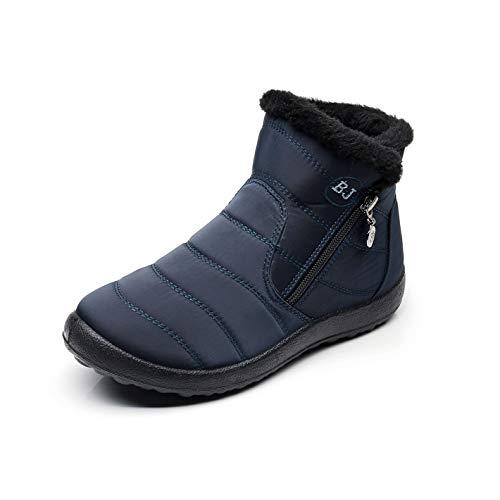 Caldo alto 35 Casual Blu Sportive Outdoor Stivali Scarpe 43 Inverno Donna Caviglia Stivaletti Nero Pelliccia Impermeabile Piatto Blu Rosso Neoker Marrone Neve Basse Sneakers wFXgqX