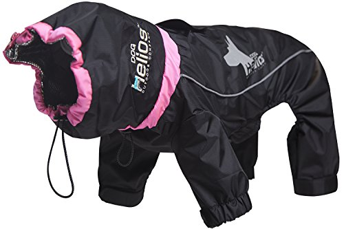 DOGHELIOS 'Weather-King' Windproof Waterproof and Insulated Adjustable Full Bodied Pet Dog Jacket Coat w/ Heat Retention Technology, Medium, Black
