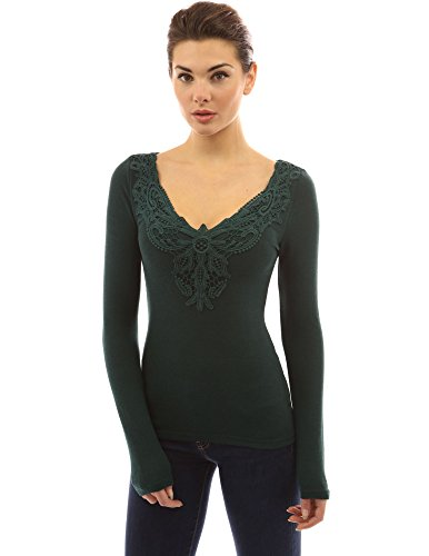 PattyBoutik Women's V Neck Crochet Lace Inset Long Sleeve Blouse (Dark Green S) Crochet Dark Green