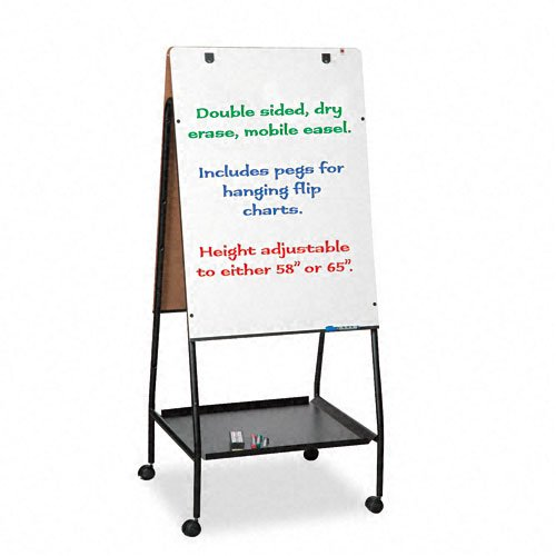Best-Rite Wheasel, Double Sided Dry Erase Melamine Whiteboard Easel, 65