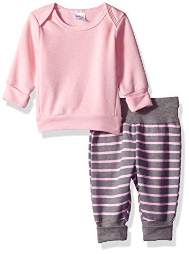 Hanes Ultimate Baby Flexy Adjustable Fit Jogger with Sweatshirt Set, Light Pink Stripe, 12-18 ()