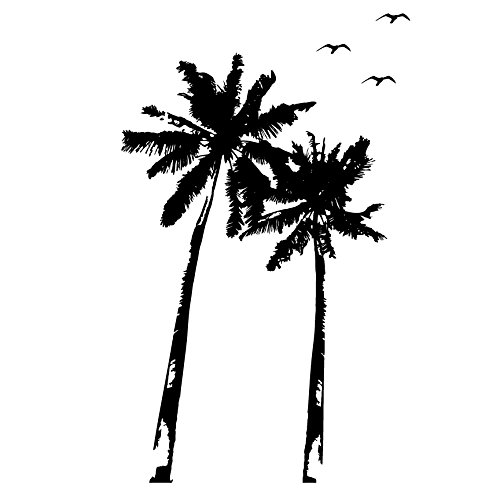 Palm Trees and Bird Flock - Vinyl Wall Art Decal for Homes, Offices, Kids Rooms, Nurseries, Schools, High Schools, Colleges, Universities, Interior Designers, Architects, Remodelers