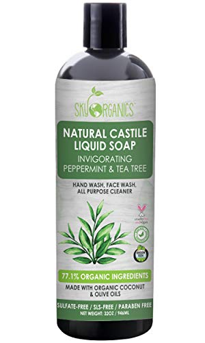 Castile Soap Organic Peppermint Tea Tree (32oz), Plant Based Liquid Soap and All Purpose Wash, Vegan & Cruelty-Free, Mint & Tea Tree Essential Oils Natural Acne Wash Savon de Marseille