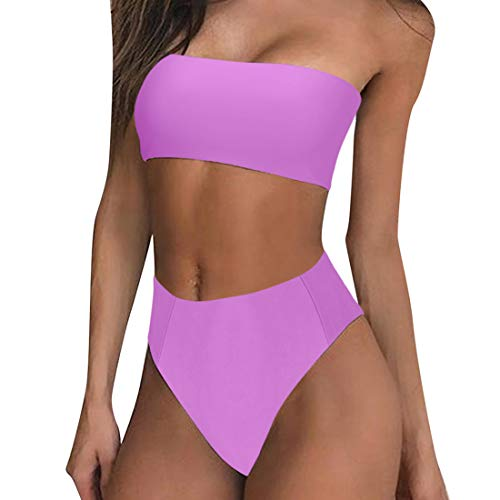 (RUUHEE Women Bandeau High Waisted Two Piece Swimsuits Bikini Set High Cut (S(US Size 4-6),Purple))