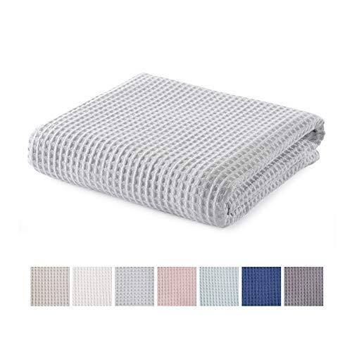 100% Cotton Waffle Weave Premium Blanket. Lightweight and Soft, Perfect for Layering. Mikala Collection (Full/Queen, Light Grey)