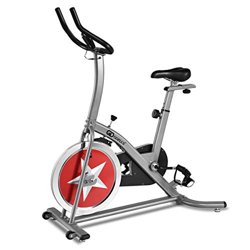 Goplus Stationary Bike Indoor Cycle Trainer Adjustable Exercise Bike Gym Cycling Cardio Workout