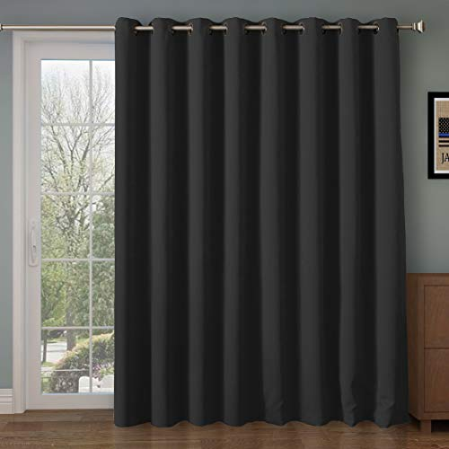 F Room Divider Curtain Panel, Blackout&Thermal Curtains 108 inches Long,Extra Long and Wider Thermal Insulated Panel(100 by 108 Inches(8.5'x9')-Black) ()