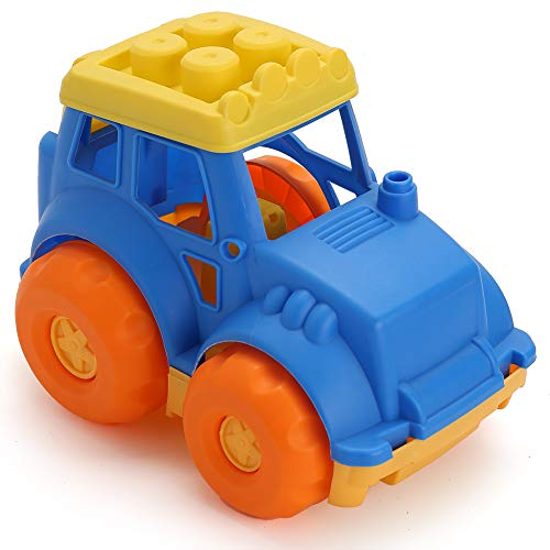 LotFancy Dump Truck Toy for Kids, Sand Trucks for Improving Gross Motor, Construction Play Vehicle Toys for Toddlers, BPA Free, Phthalates Free, Yellow / Blue / Orange, 9 Inch