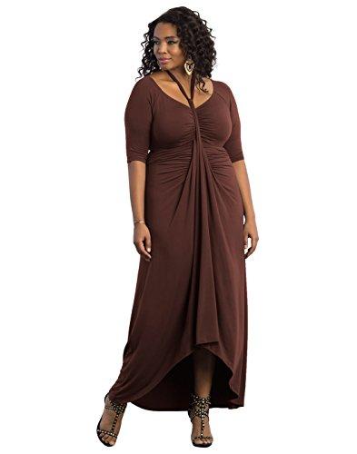 Kiyonna Women's Plus Size Divine Draped Maxi Dress 1X Mahogany by Kiyonna Clothing