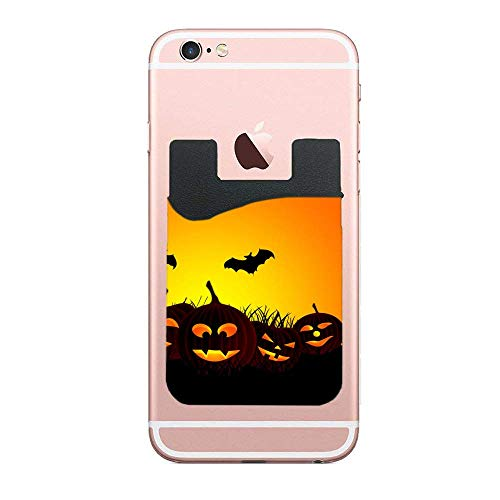 Phone Card Holder Adhesive Stick-on Credit Card Wallet Phone Case Pouch Sleeve Pocket for Most of Smartphones(iPhone/Android/Samsung Galaxy) Halloween Hd Wallpapers -