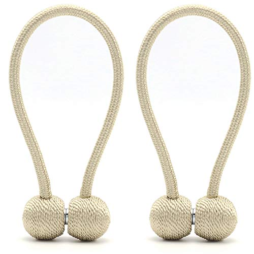 DEZENE Magnetic Curtain Tiebacks,The Most Convenient Drape Tie Backs,Decorative Rope Holdbacks/Holder for Window Sheer and Blackout Panels,Set of 2,Beige (Decorative Holdback)