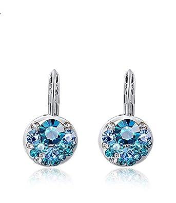 Fajewellery Blue Cristal Autrichien Boucles D Oreilles Alliage