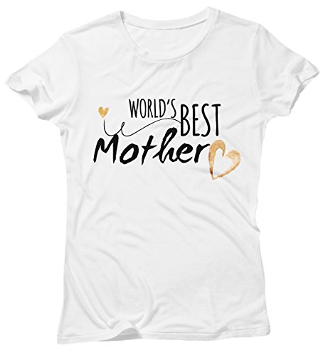 Camiseta Mujer World's Best Mother - Camiseta divertida Madre 100% algodòn LaMAGLIERIA Bianco