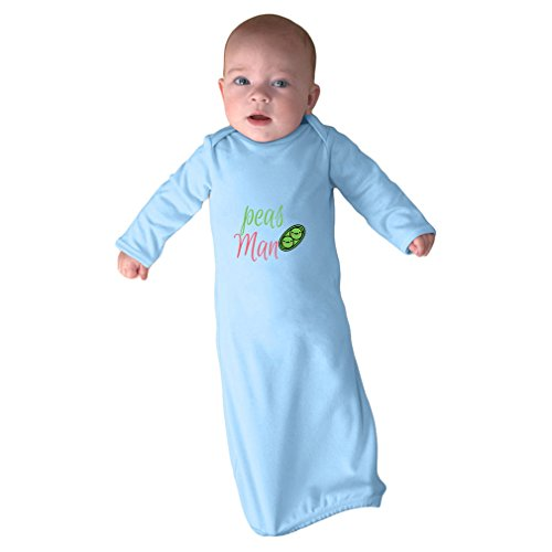 Cute Rascals Peas Man! Peace Sig Infant Baby Rib Layette Sleeping Gown Light Blue Gown Only