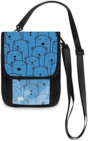 トラベルウォレット ミニ ネックポーチトラベルポーチ ポータブル かわいい ポーラーベア 北極熊 小さな財布 斜めのパッケージ 首ひも調節可能 ネックポーチ スキミング防止 男女兼用 トラベルポーチ カードケース