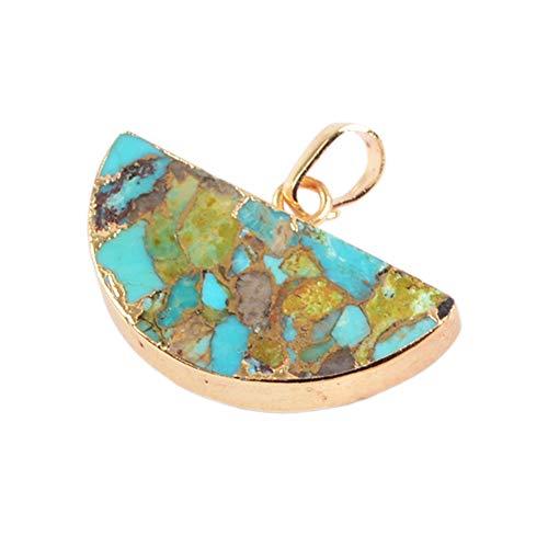 - ZENGORI 1 Pcs Gold Plated Copper Natural Turquoise Half Round Pendant for Unisex G1685