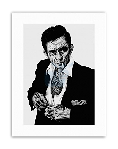 Cash Tattoo Johnny - Wee Blue Coo Johnny Cash Tattoo Inked IKON by W.Maguire Canvas Art Prints