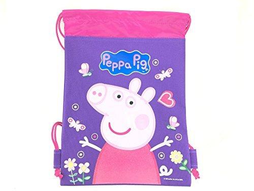 Disney Drawstring Backpack Gym School Sling Tote Bag (Peppa Pig Purple)]()