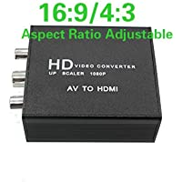 CoolDigital RCA AV Composite to HDMI Converter 16:9 4:3 Aspect Ratio Adjustable Support PAL/NTSC with USB Charge Cable