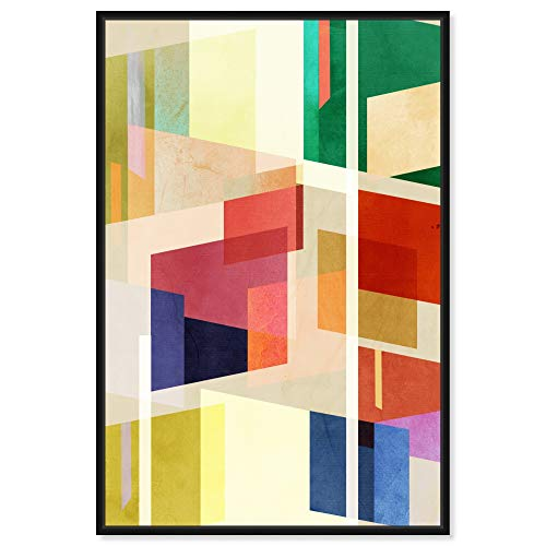The Oliver Gal Artist Co. Abstract Framed Wall Art Canvas Prints 'Midcentury Square Abstract' Geometric