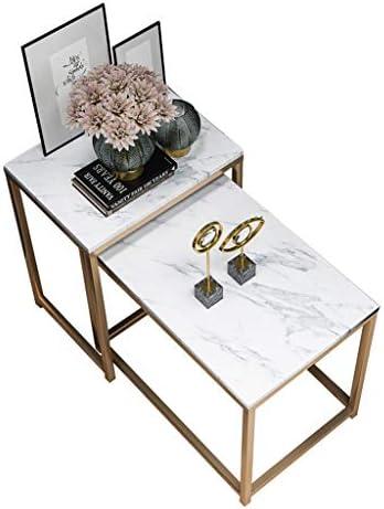 Online Winkel LAMXF bijzettafels voor de woonkamer vierkante bijzettafels van marmer & metalen frame, ruimtebesparende en compacte bijzettafels of salontafels in moderne stijl, set van 2  CW8yTP2