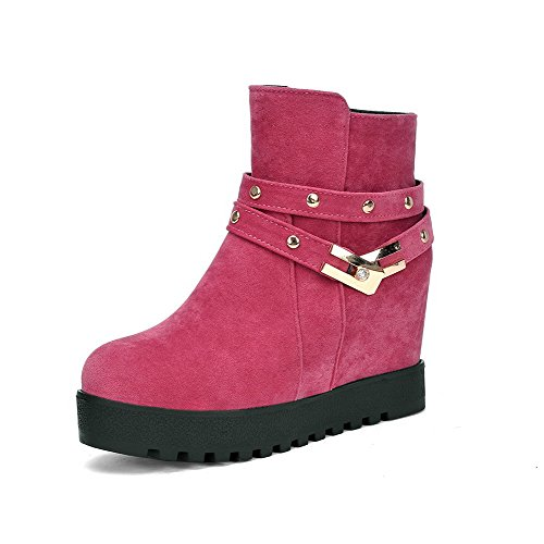 Closed Women's Heels High Boots Round Toe Solid Frosted Allhqfashion Pink Zipper gF1XwqH