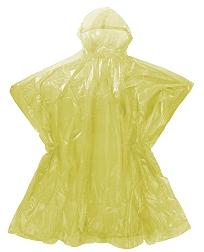 Emergency Rain Poncho with Hood - Yellow Color One Size Fits All - Commuter Friendly Rain Poncho Survival Kit Accessory for Travel Trailblazing Picnics Camping School Sporting Corporate - Creek City On Seasons