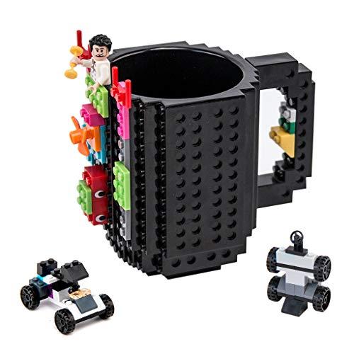 OSOPOLA Build-On Brick Mug Coffee Cup DIY Type Plastic Creative Building Blocks Coffee Tea Beverage Drinking Funny Gift(12oz Black Mug)