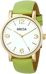 Breda Women's 2383D Gold-Tone Watch with Green Leather Strap