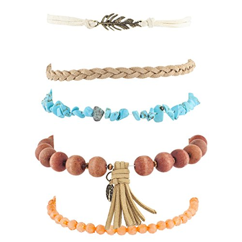 Lux Accessories Burnished Gold Tone Tassel Boho Beaded Strand Arm Candy Set 5PC