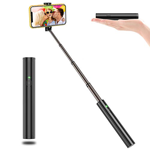 Vproof Selfie Stick Bluetooth, Lightweight Aluminum All in One Extendable Selfie Sticks Compact Design for iPhone Xs/XS max/XR/X/8/8 Plus/7/6s/6/5, Galaxy S10/S9/S8/S7/S6/Note, Huawei, Nubia, More (Best Selfie Stick For Iphone)