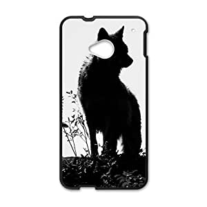 ALLCASE Wolf Shadow Black and White Photo Design HTC One M7 Black Protective Snap-on Case with Best Plastic