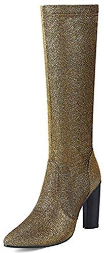 Idifu Kvinna Mode Glitter Zip Upp Pekade Tå Hög Chunky Klack Knähöga Stövlar Guld