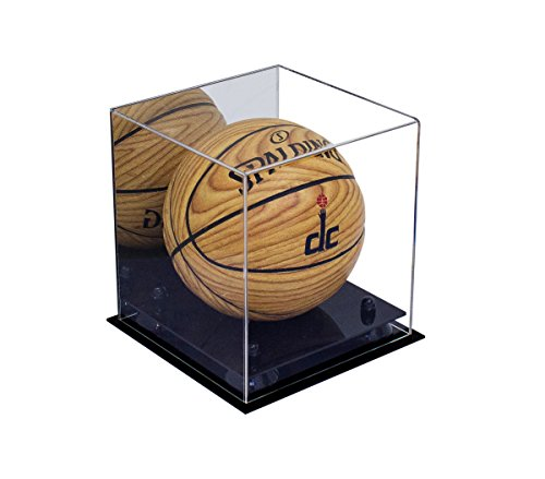 Deluxe Acrylic Mini - Miniature (not Full Size) Basketball Display Case with Black Risers and Mirror (A015-BR)